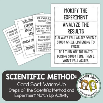 Steps and Experiment Card Sort - Scientific Method