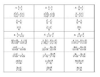 Steps for Adding & Subtracting Basic Rational Expressions