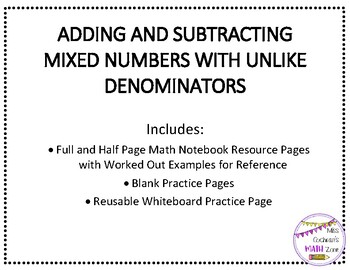 Steps for Adding & Subtracting Mixed Numbers with Unlike Denominators Resources