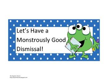 Steps for Dismissal Checklist Poster Monster Polka Dot Theme