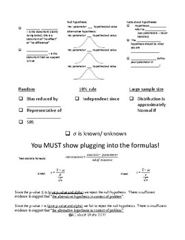 Steps for Hypothesis Testing with means foldable