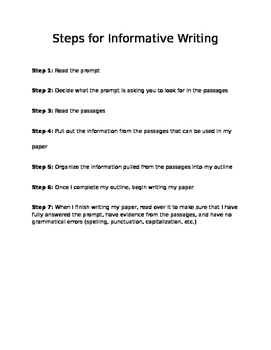 Steps for Informative Writing