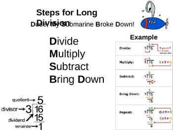 steps to long division handout teaching resources  teachers pay   steps for long division dude my submarine broke down