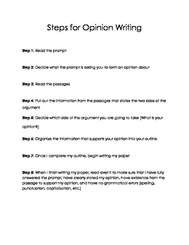 Steps for Opinion Writing