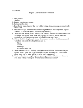 Steps for Planning a Paper