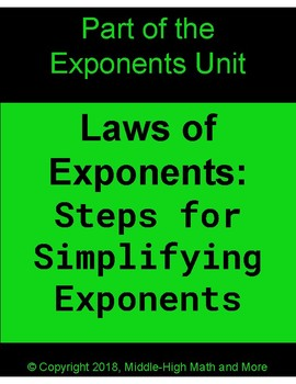 Laws of Exponents:  Steps for Solving Exponential Expressions - FREE