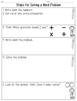 Steps for Solving a Word Problem Graphic Organizer