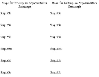 Steps for Writing an Argumentative Paragraph