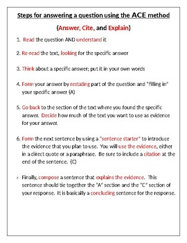 Steps for using the ACE method to compose a short-answer response