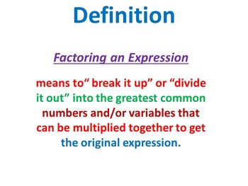 Steps in Factoring an Expression