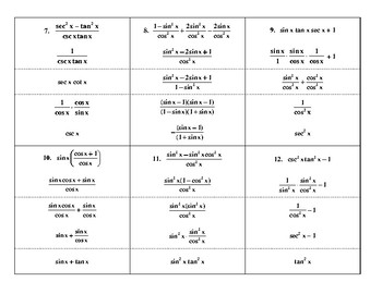 Steps in Simplifying Trig Expressions