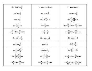 Steps in Solving Basic Trig Equations