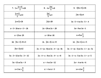 Steps in Solving Linear Absolute Value Equations