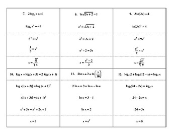 Steps in Solving Logarithmic Equations