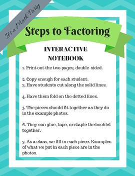 Steps of Factoring - Interactive Notebook