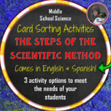 Steps of the Scientific Method Card Sorting Activities in English and Spanish