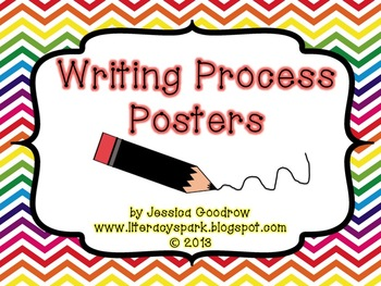 Steps of the Writing Process Posters {Rainbow Chevron}
