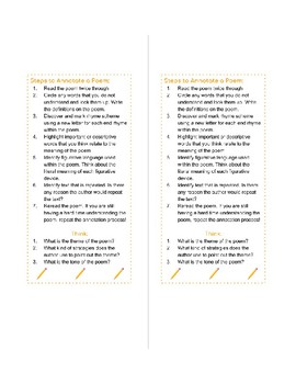 Steps to Annotate a Poem: Bookmark!