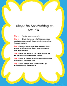 Steps to Annotating an Article Notes