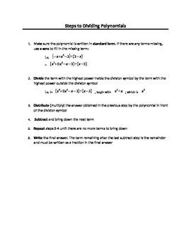 Steps to Dividing Polynomials
