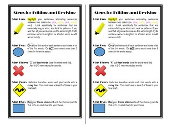 Steps to Edit and Revise Writing Handout for Interactive Notebook
