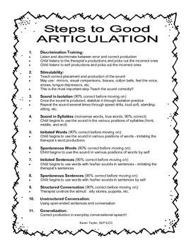 Steps to Good Articulation