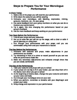 Steps to Prepare for a Monologue Performance