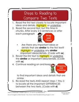 Steps to Reading to Compare and Contrast Two Texts
