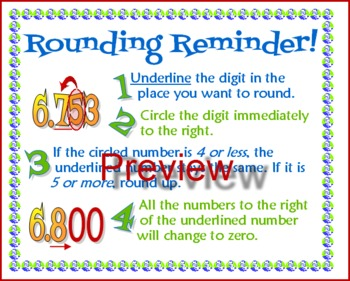 """Steps to Rounding  - Student """"Cheat Sheet"""""""