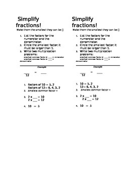 Steps to Simplifying Fractions: Bookmarks