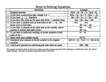 Steps to Solve Equations Word version