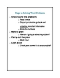 Steps to Solving Word Problems Checklist