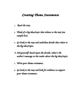 Steps to Writing a Theme Statement