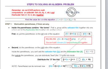 Steps to solve basic algebra problems