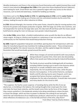 Steps to the Industrial Revolution Reading and Graphic Organizer Activity