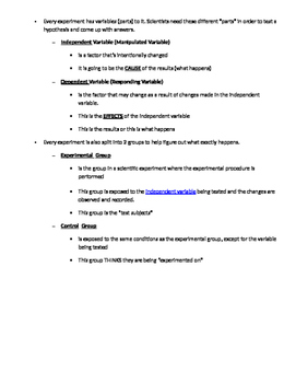 Steps to the Scientific Method Notes