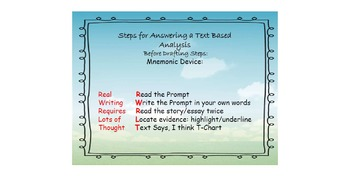 Steps with Symbols for answering a Text-Based Analysis Writing Prompt