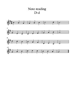 Stepwise note reading treble worksheet D-d