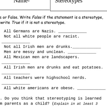 Stereotype FULL 2 DAY LESSON