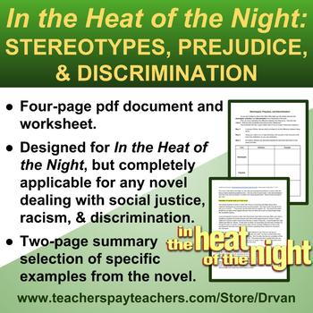 Worksheets Racism Worksheets in the heat of night s by drvan teachers pay stereotypes racism prejudice graphic organizer
