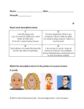 Stereotypes- match the person to the description activity
