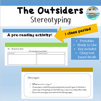 "Stereotyping - ""The Outsiders"" a pre-reading activity"