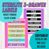 Sterilite 3-Drawer Labels - Regular and Mini Size | Bright Rainbow | EDITABLE