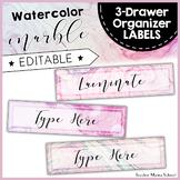 Sterilite 3-Drawer Labels   EDITABLE { Watercolor Marble }
