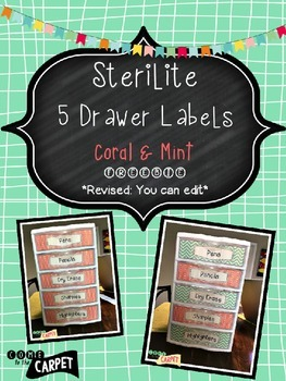 Sterilite 5 Drawer Labels: Coral & Mint