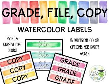 Sterilite Drawer Labels Watercolor