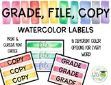 Grade Copy File Sterilite Drawer Labels Watercolor