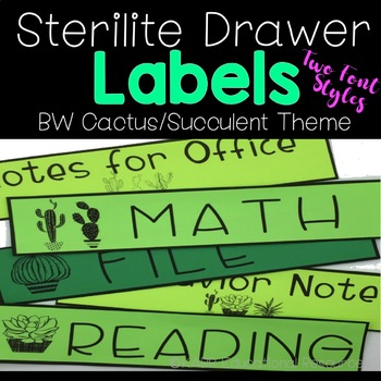 Sterilite Drawer Labels | BW Cactus Theme
