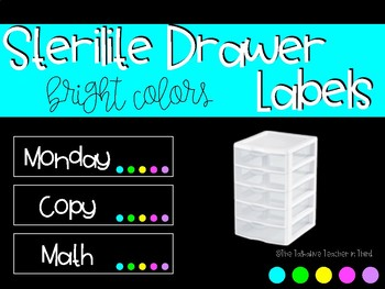 Sterilite Drawer Labels - Bright Colors