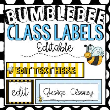 Editable Labels | Sterilite Drawers | Bumblebee Classroom Decor